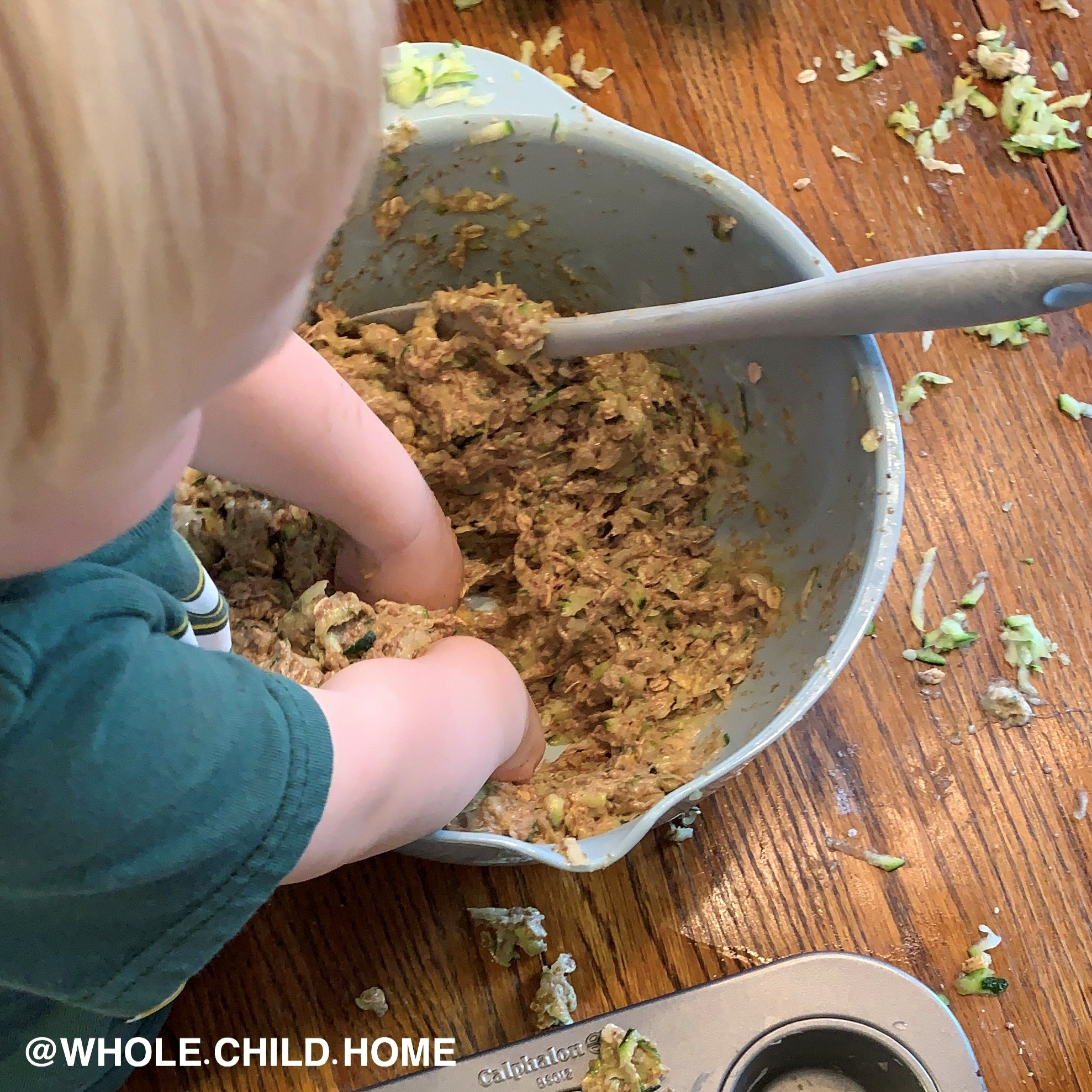 Guidepost Montessori toddler bakes cookies as a practical life and sensorial activity, Montessori at Home video series