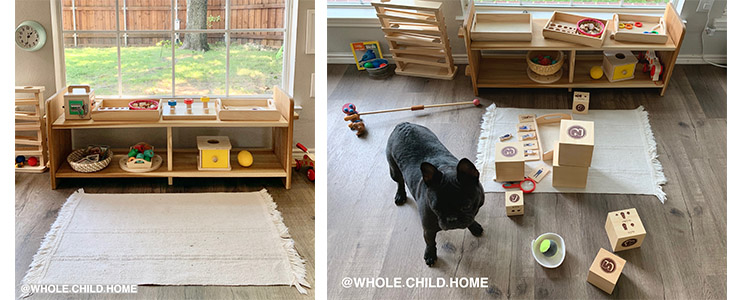 Montessori at Home, prepared environment before and after use